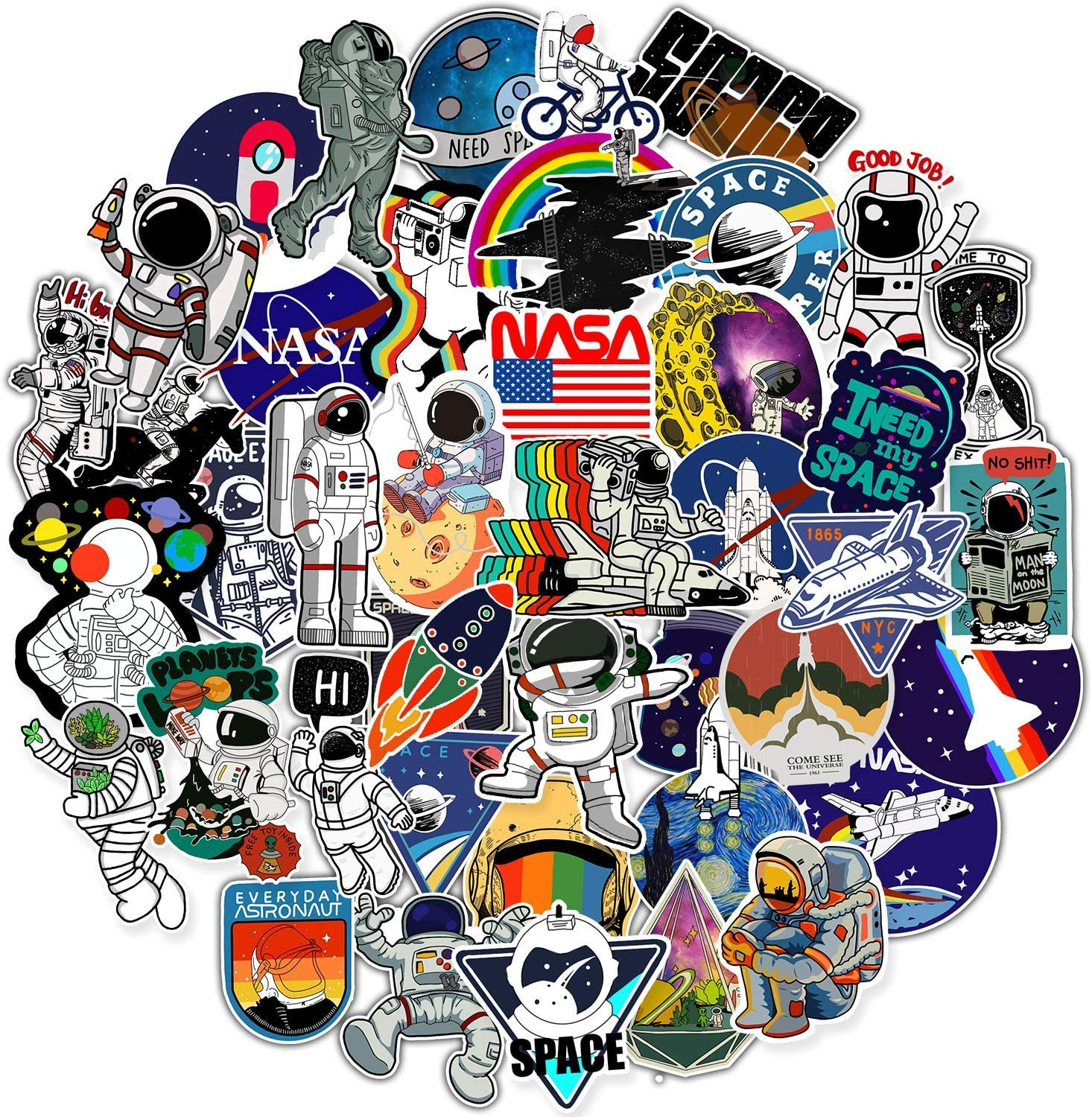 NASA Stickers for Laptop, Space Explorer Galaxy Vinyl Sticker for Water Bottle Hydro Flask Car Bumper Skateboard Luggage, Spaceman Spacecraft Universe Planet Graffiti Decals for Vsco Girl Boy,50 Pack