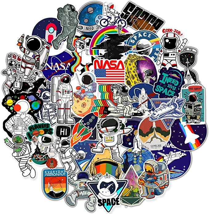 NASA Stickers for Laptop, Space Explorer Galaxy Vinyl Sticker for Water Bottle Hydro Flask Car Bumper Skateboard Luggage, Spaceman Spacecraft Universe Planet Graffiti Decals for Vsco Girl Boy,50 Pack,Revtronic,8541558533