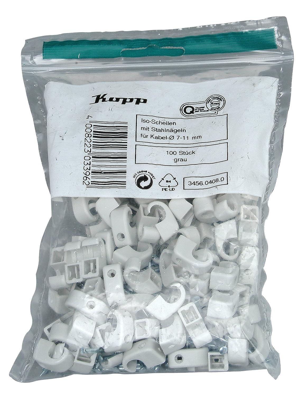 Abrazaderas Kopp 345604080 Color Gris 7-11 mm, con Clavos de Acero de 30 mm
