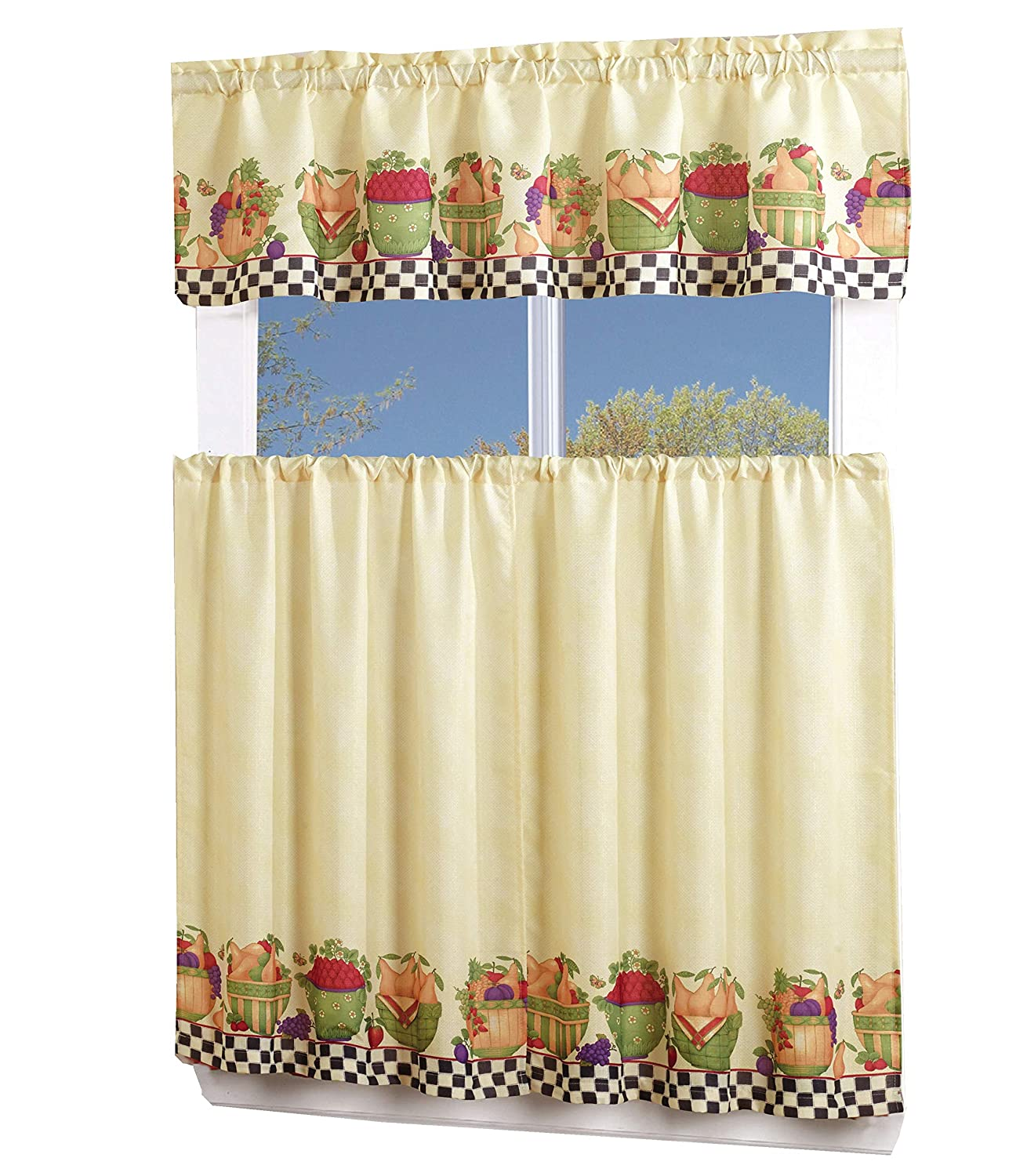 MarCielo 3 Piece Printed Floral Kitchen/Cafe Curtain With Swag and Tier Window Curtain Set (Fruit) ca-printing kitchen curtain