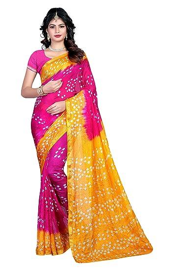44080a5265 Shree Sondarya Bandhani Pink and Yellow Tussar Silk Bandhani Saree With Blouse  Piece: Amazon.in: Clothing & Accessories