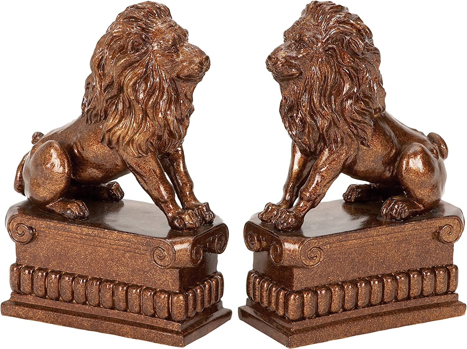 Deco 79 Polystone Lion Bookend Pair Unique Table and Shelf Decor with Utility