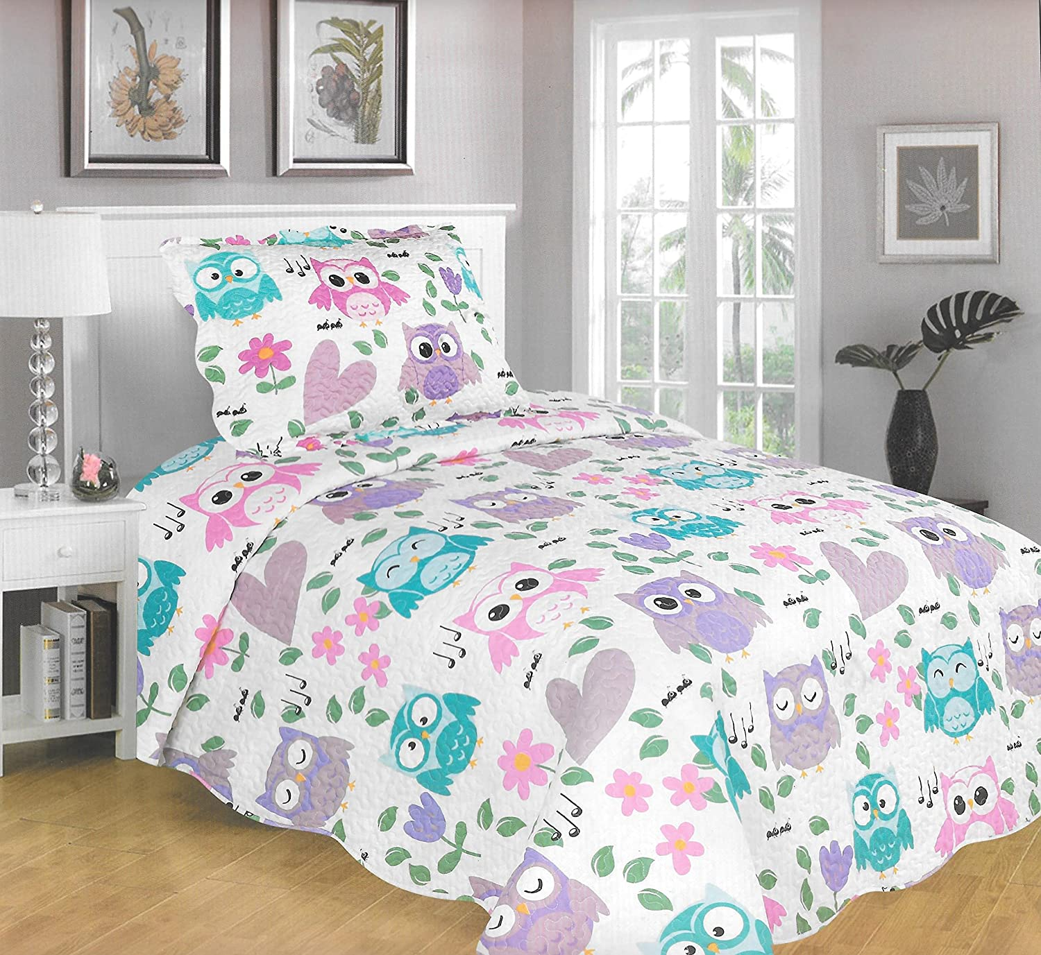 MarCielo 2 Piece Kids Bedspread Quilts Set Throw Blanket for Teens Boys Girls