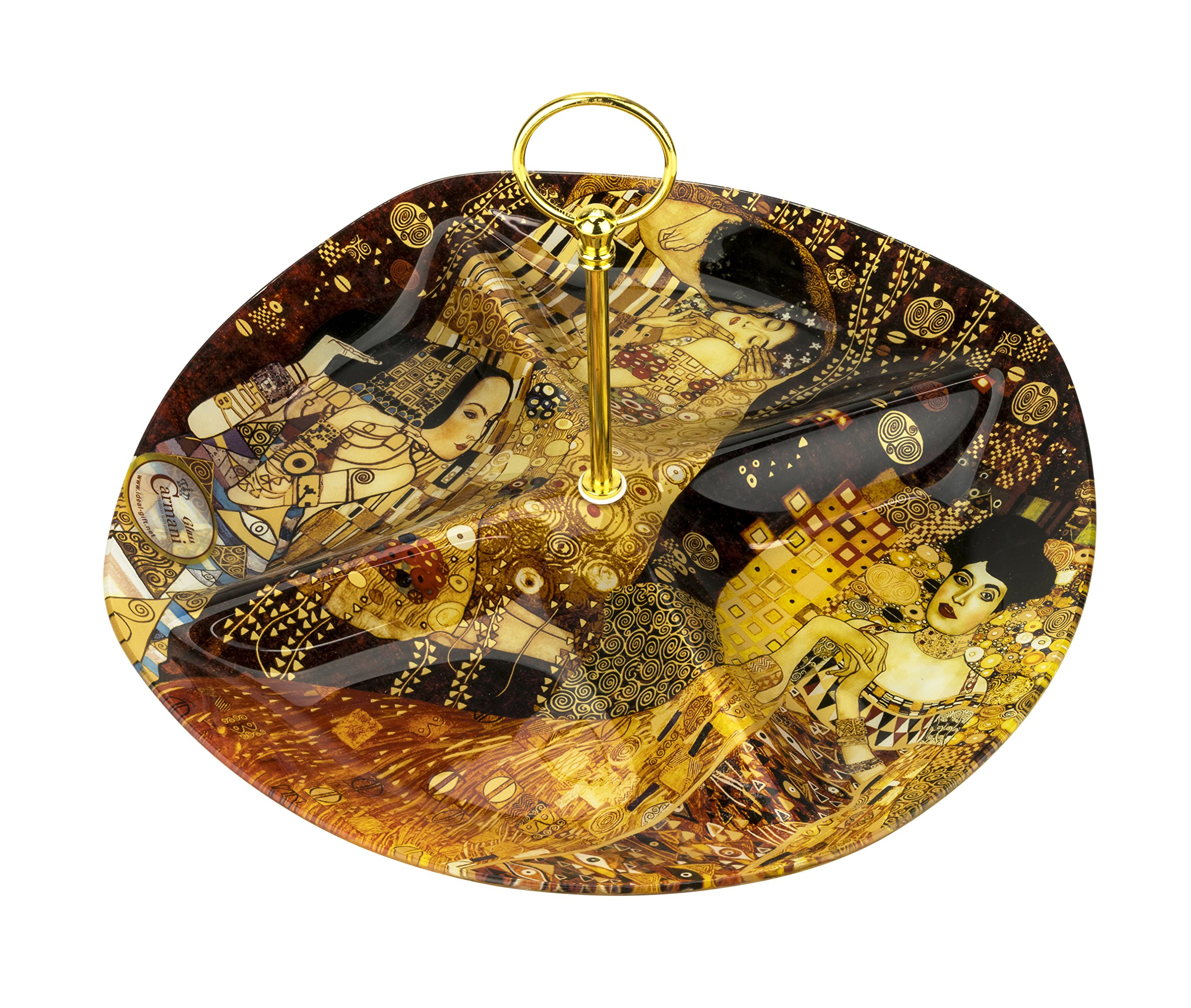 Carmani 13 x 13-Inch Decorative Glass Tray with Gustav Klimt Paintings Print, Collectible Home Decor Serving Dish with Golden Handle, Decorative Fruit/Appetizers Centerpiece Platter, Gift Box