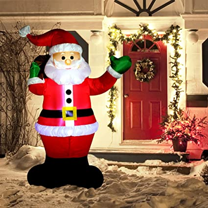 Amazon.com: Decoración inflable de Navidad de 6 pies, Santa ...