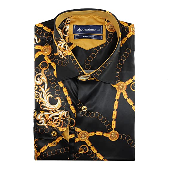 c7598673 Oscar Banks New Mens Designer Style Black Gold Chain Printed Satin Feel Dress  Party Shirt: Amazon.co.uk: Clothing