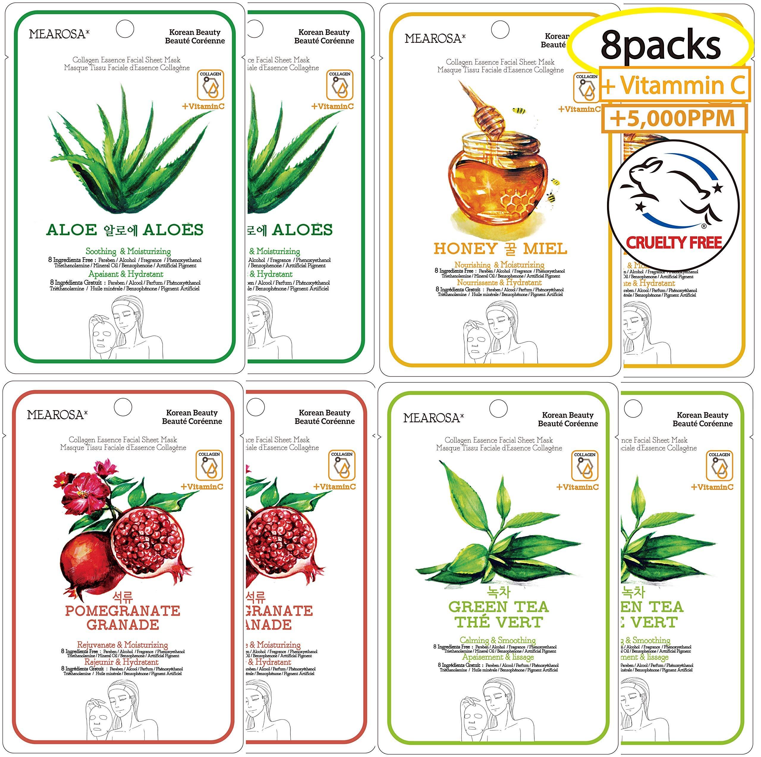 MEAROSA Facial Sheet Mask Korean SkinCare premium Quality Vitamin C Collagen Essence Sensitive skin(8 Sheet Variety pack)