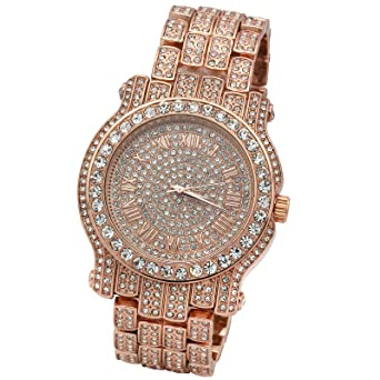 0909b225d8858 Iced Out Pave Rose Gold Tone Hip Hop Men's Bling Bling Metal Band Watch  Watches
