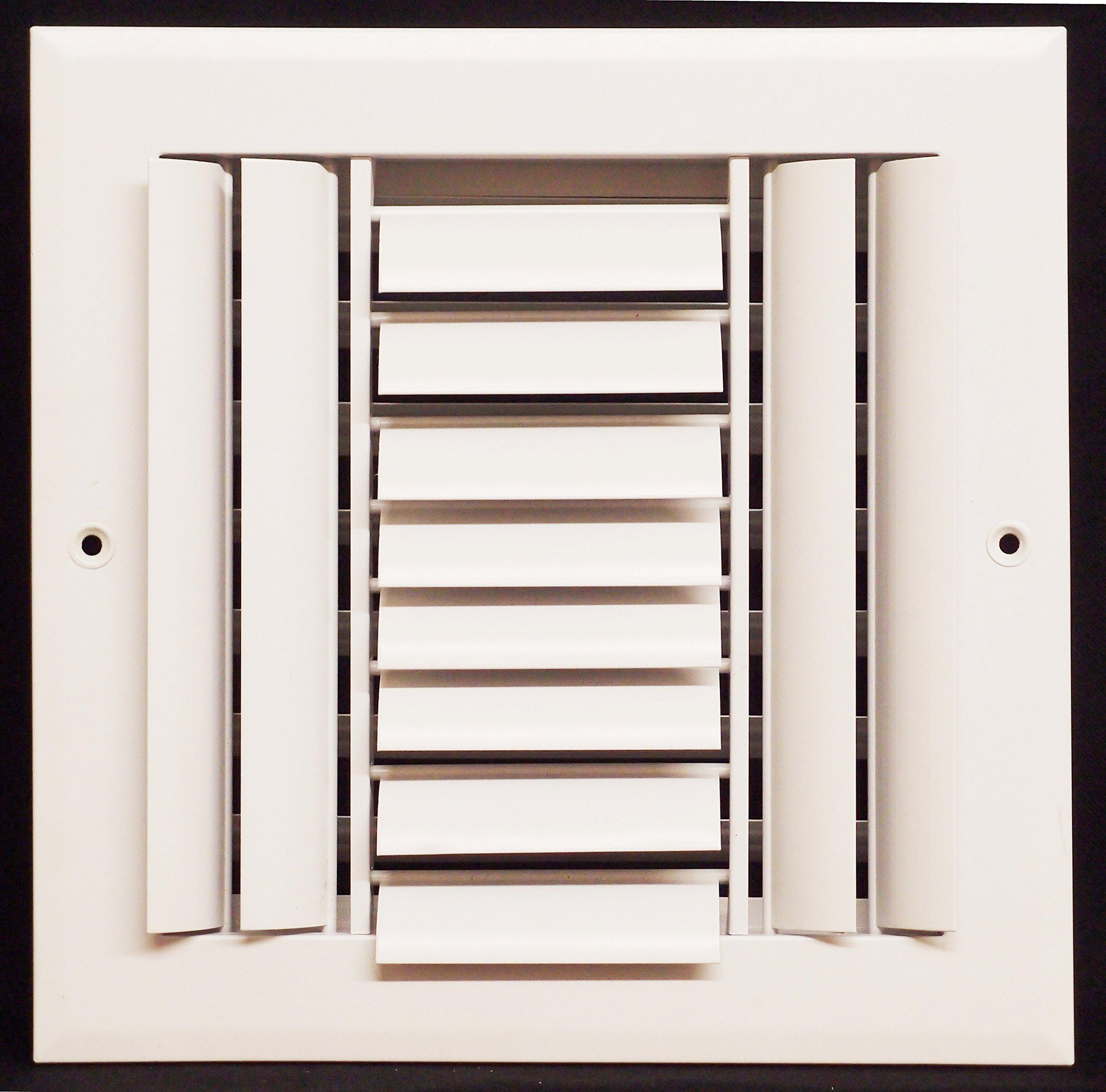 10'' x 10'' - 3-Way Air Vent - Adjustable Aluminum Curved Blades - Maximum Air Flow - HVAC Grille