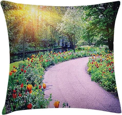 KAKICSA Funda de cojín jardín, Paisaje primaveral con Tulipanes Coloridos Keukenhof Garden en la horticultura de los Países Bajos, Funda de Almohada Decorativa Cuadrada, 18 x 18 Pulgadas: Amazon.es: Hogar