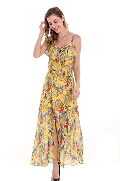 3a401773ceff Amazon.com: Apperloth Women's Ruffled Adjustable Spaghetti Straps Sexy Cold  Shoulder High Split Beach Party Long Dress: Clothing