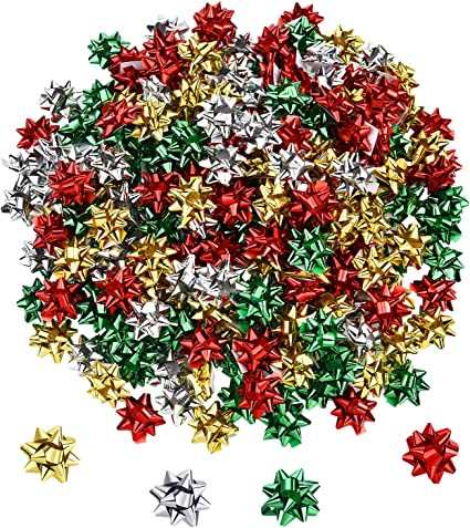 20 RED METALLIC BOWS SELF ADHESIVE MERRY CHRISTMAS XMAS PRESENT GIFT WRAPPING