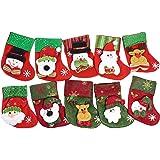 "JustNile Beautiful Decorative Sequined Soft Felt Christmas Stockings Mini Santa Gift & Treat Bag Party Decoration Fireplace Decor - Set of 10, Each 6.4""x5.5"""
