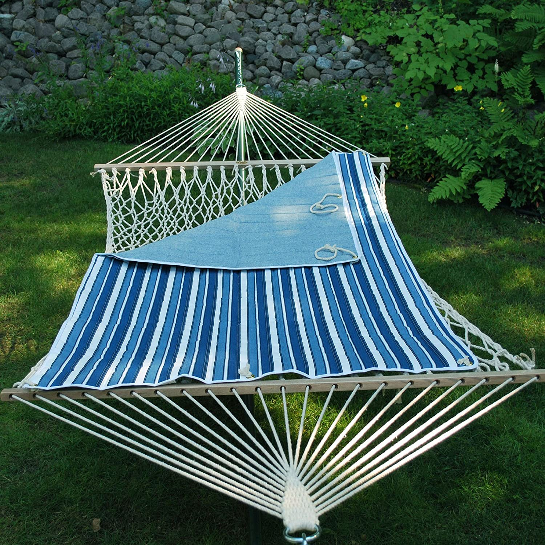 amazon     algoma 2951 135142 quilted hammock pad tropical palm stripe blue norway powder blue   garden  u0026 outdoor amazon     algoma 2951 135142 quilted hammock pad tropical palm      rh   amazon