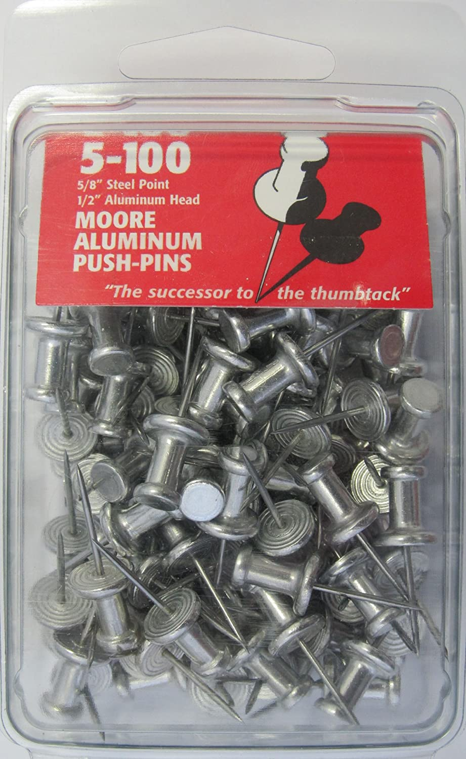 Moore Push-Pin 5-100 Aluminum Push Pins, 100 per Box