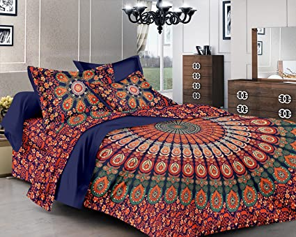 Pure Comfort Cotton Mandala King Size Double Bedsheet Peacock Feathers Printed Design with 2 Pillow Covers (Orange)