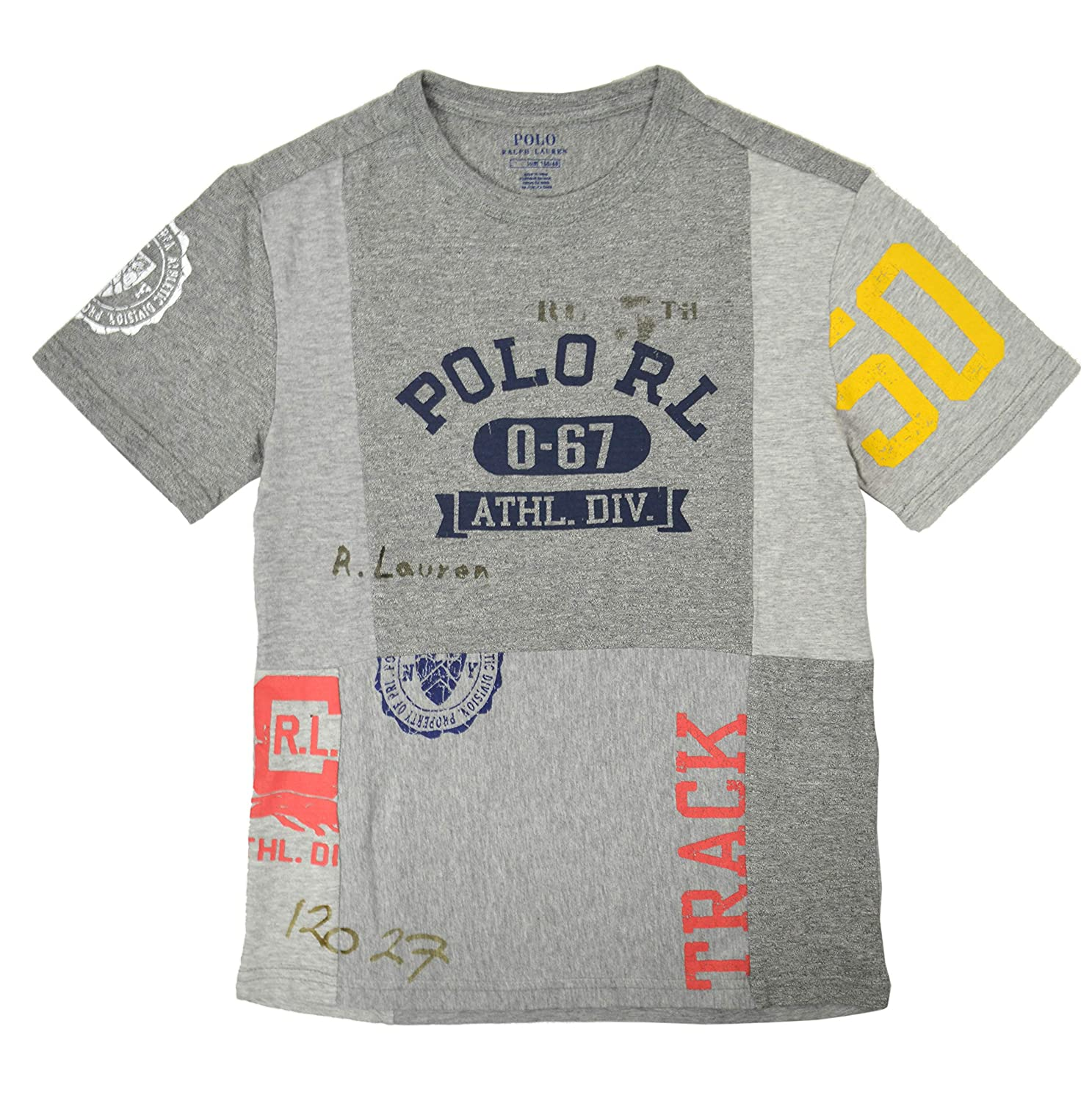 6bbbca299 Amazon.com: Polo Ralph Lauren Toddler Boys Athletic Division Patchwork Tee  T-Shirt Heather Grey: Clothing