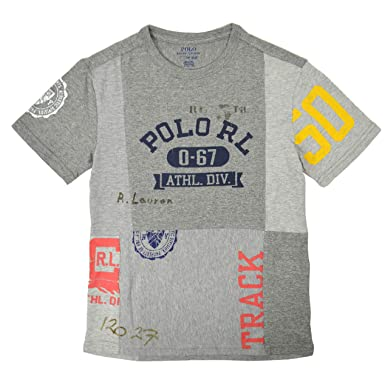 839dd4a65 Polo Ralph Lauren Toddler Boys Athletic Division Patchwork Tee T-Shirt  Heather Grey (Small