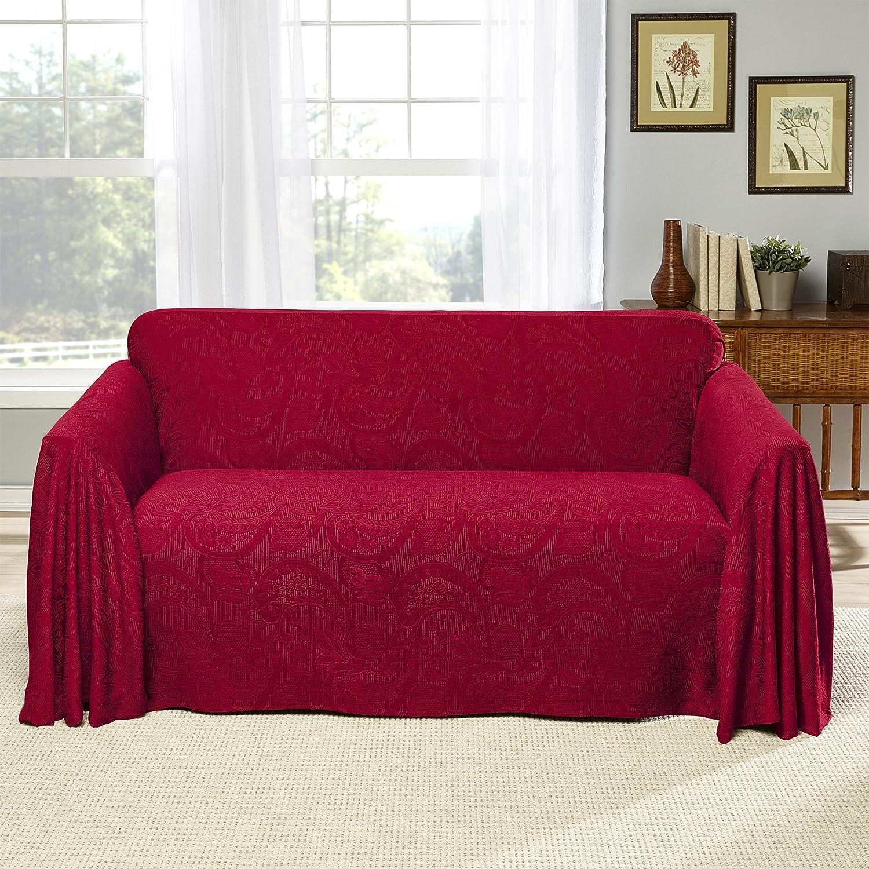 Amazon com stylemaster alexandria furniture throw large sofa burgundy home kitchen