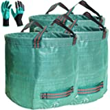 Professional 3-Pack 80 Gallons Lawn Garden Bag Leaf Waste Bags (D26, H33 inches) with Coated Gardening Gloves,Reuseable Heavy
