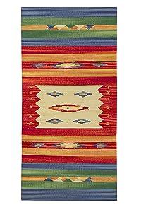 Jute & Co Kilim Tapis en Coton de Haute qualité, Tissé à la Main, Multicolore, 60 x 120 cm