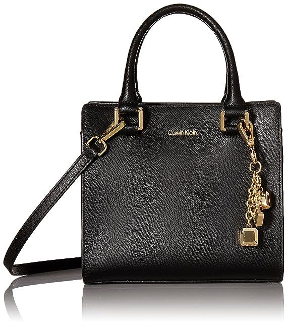 787683749a4 Calvin Klein womens Calvin Klein Logan Mercury Leather Crossbody,  black/gold, One Size