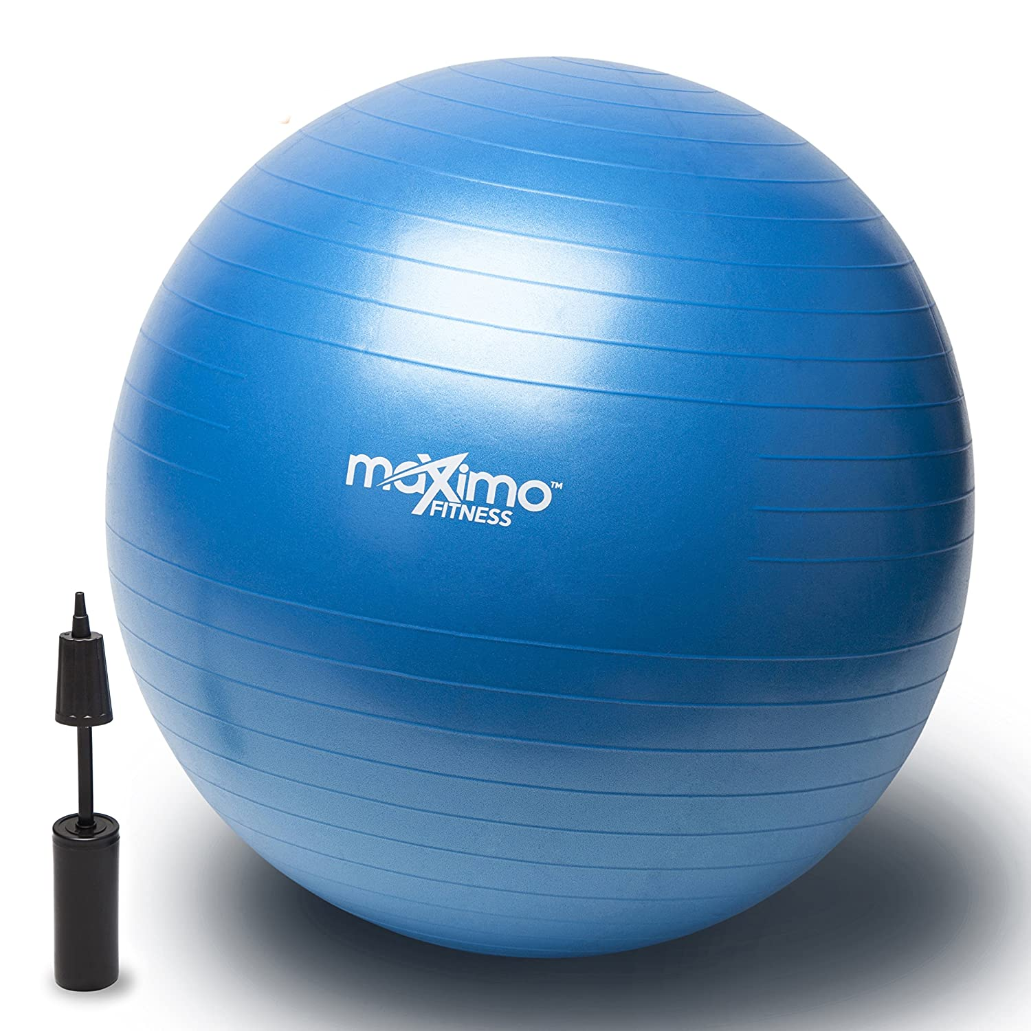 Exercise Ball 55cm + Hand Pump - Superior Quality - Perfect for Stability Training, Core Workout, Body Balance, Pilates, CrossFit - Anti-Burst - Non Slip PVC Material. Maximo Fitness