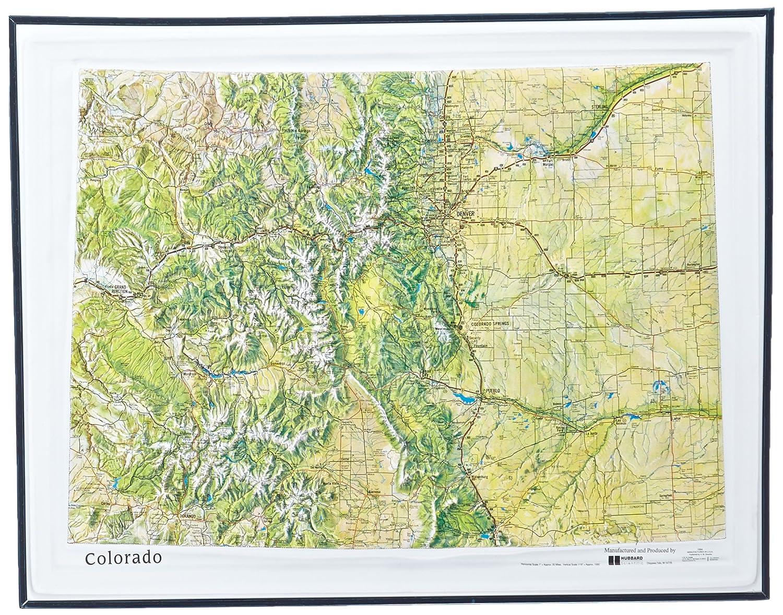 Mapa de alivio de color natural con marco de plástico negro de American Educational Colorado, 43 cm de largo x 55 cm de ancho.