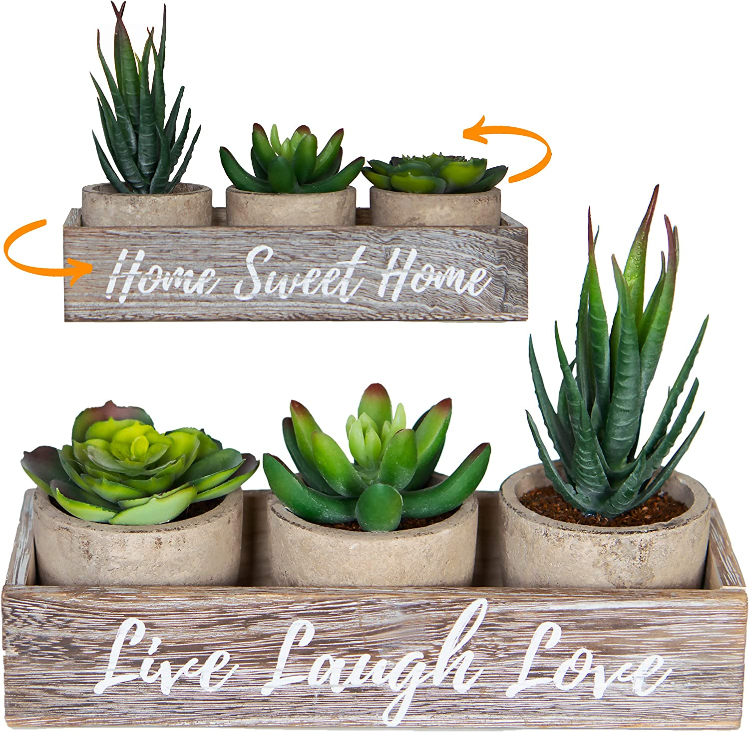 3 Artificial Succulent Plants with Pots with Rustic Planter Box – Home Sweet Home & Live Laugh Love | Realistic Greenery Mini Faux Plant Arrangements for Home Decor Office Table Bathroom Kitchen Dorm