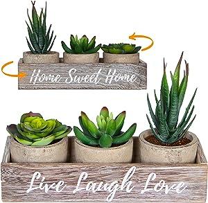 3 Small Fake Succulents Plants Artificial Home Decor Indoor - Greenery Plant - Mantle, Farmhouse Bedroom Shelf, Women Office, Centerpiece Table Decorations Living Room, Desk Decorative Faux Succulent