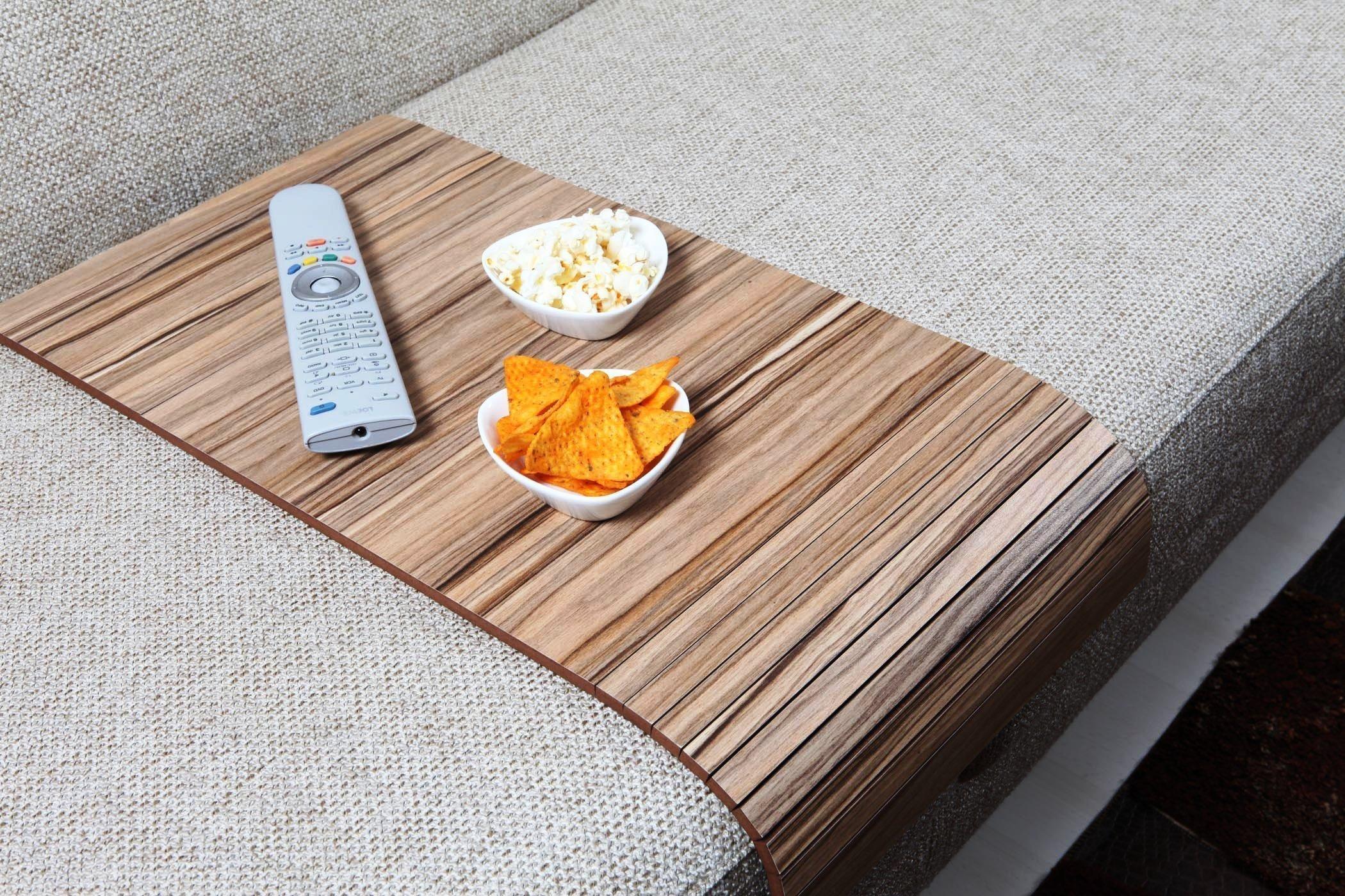 Sofa Tray Table - Long (European Walnut), Sofa Arm Tray, Armrest Tray, Sofa Arm Table, Couch Tray, Coffee Table, Sofa Table,Wood Tray,Wood Gifts