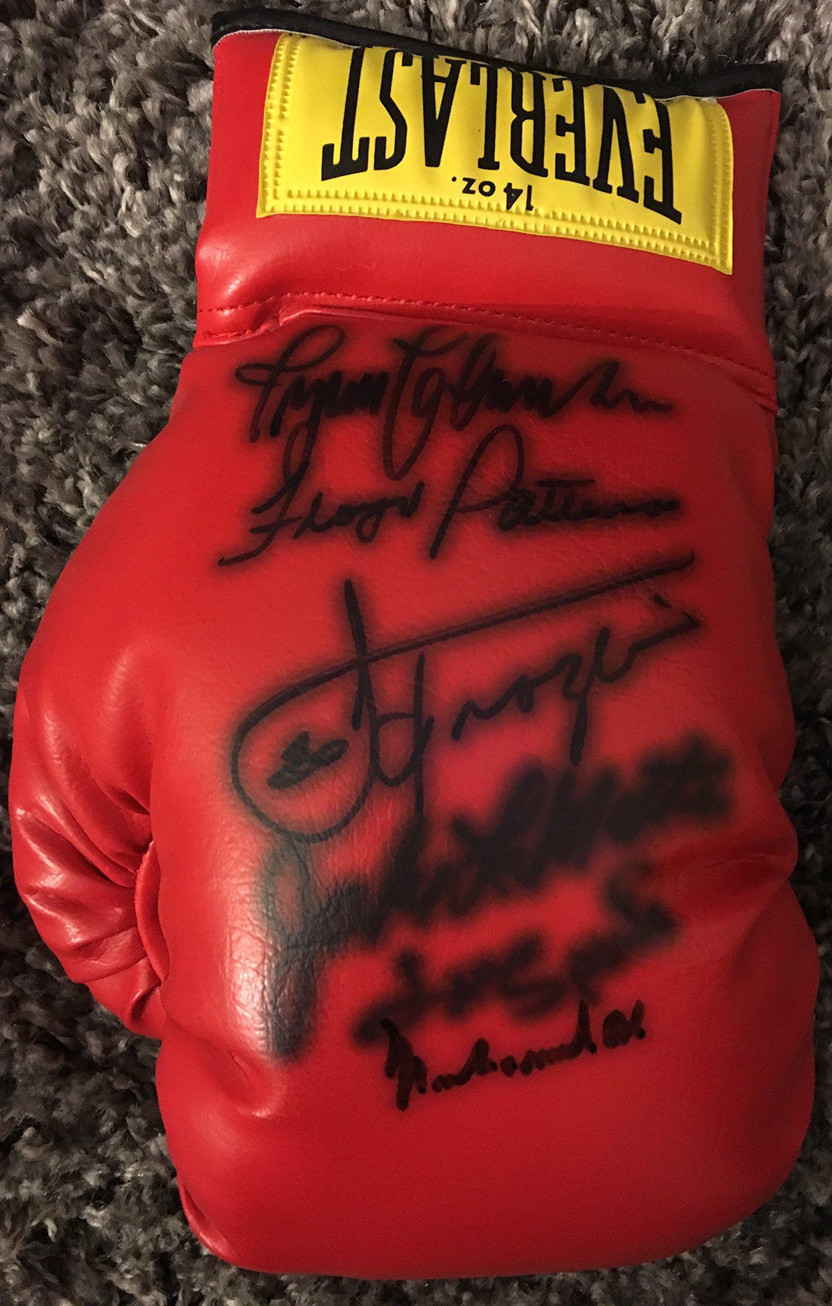 MUHAMMAD ALI, JOE FRAZIER, LEON SPINKS, FLOYD PATTERSON, INGEMAR JOHANSSON & JAKE LAMOTTA Signed Everlast Boxing Glove PSA/DNA LOA