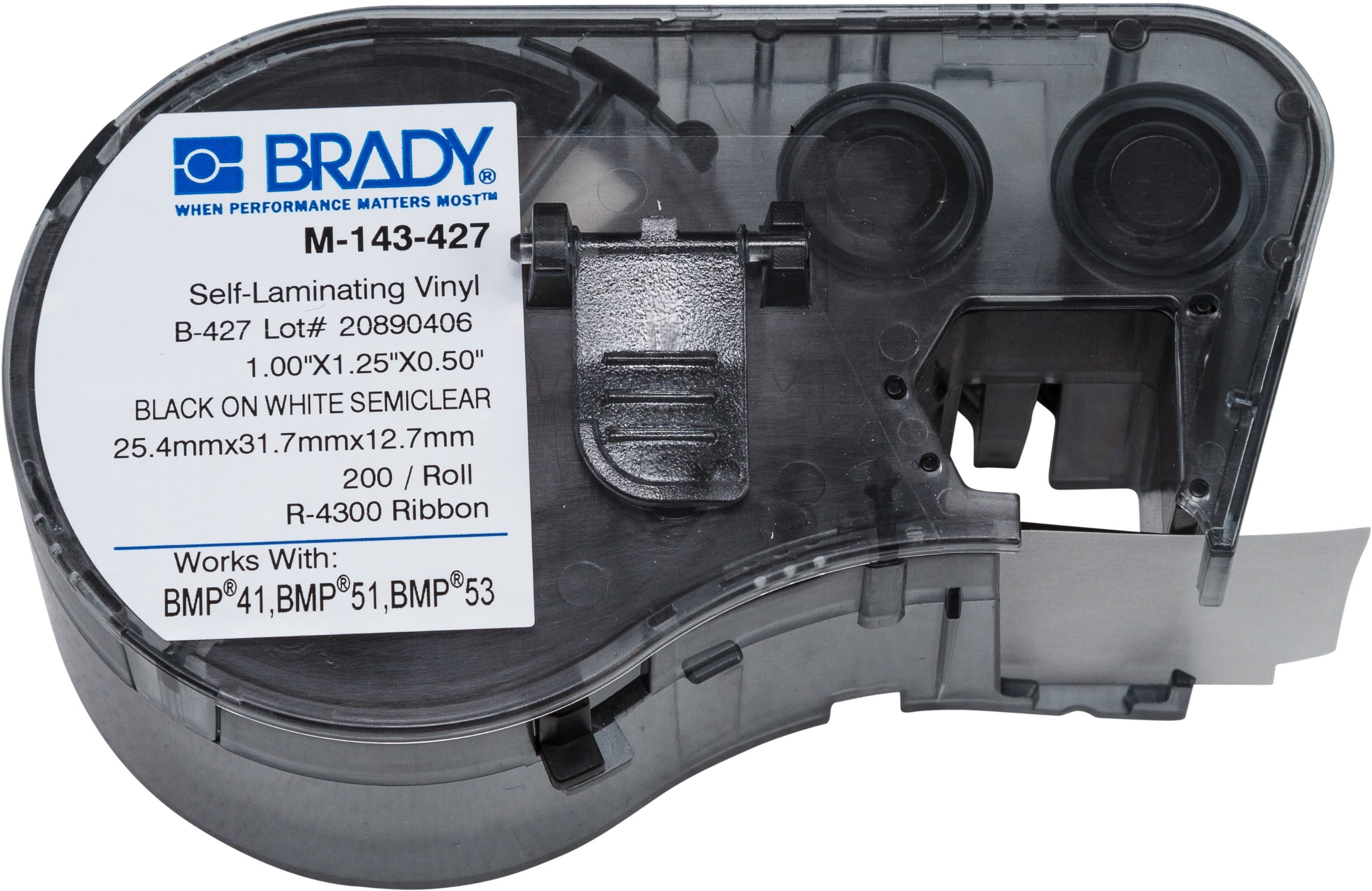 Brady Self-Laminating Vinyl Label Tape (M-143-427) - Black on White, Translucent Tape - Compatible with BMP41, BMP51, and BMP53 Label Makers - 1.25'' Height, 1'' Width