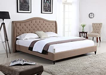 Amazon Home Life Cloth Light Brown Linen Curved Hand Diamond Tufted And Nailed Headboard 53 Tall Platform Bed With Slats Full