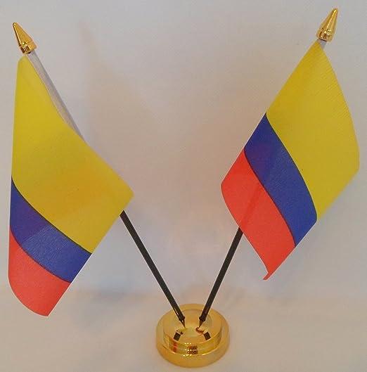 Flag Co Colombia Colombiano Bandera de 2 Mesa de Escritorio con ...