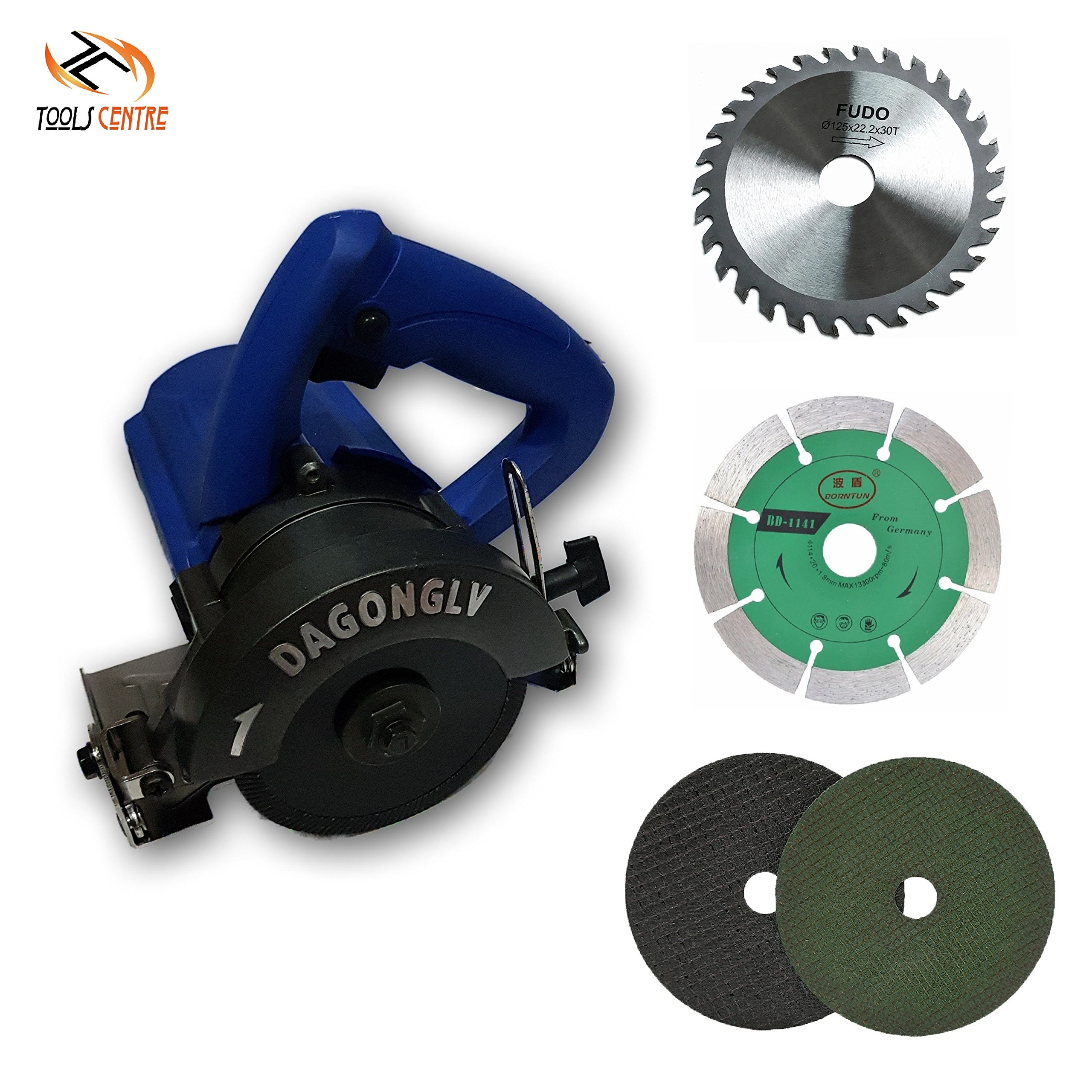 Tools Centre Industrial (125mm) 5'' Tile/Wood Cutter Machine With Free TCT/Marble/Metal Cutting Blades.