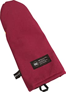 "San Jamar KT0112K Cool Touch Flame Puppet High Heat Intermittent Flame Protection up to 900°F Oven Mitt, 13"" Length, Red"