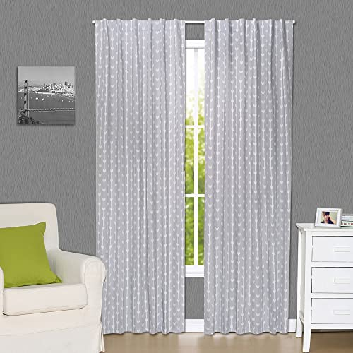 Grey Arrow Print Blackout Window Drapery Panels – Two 84 by 42 Inch Panels