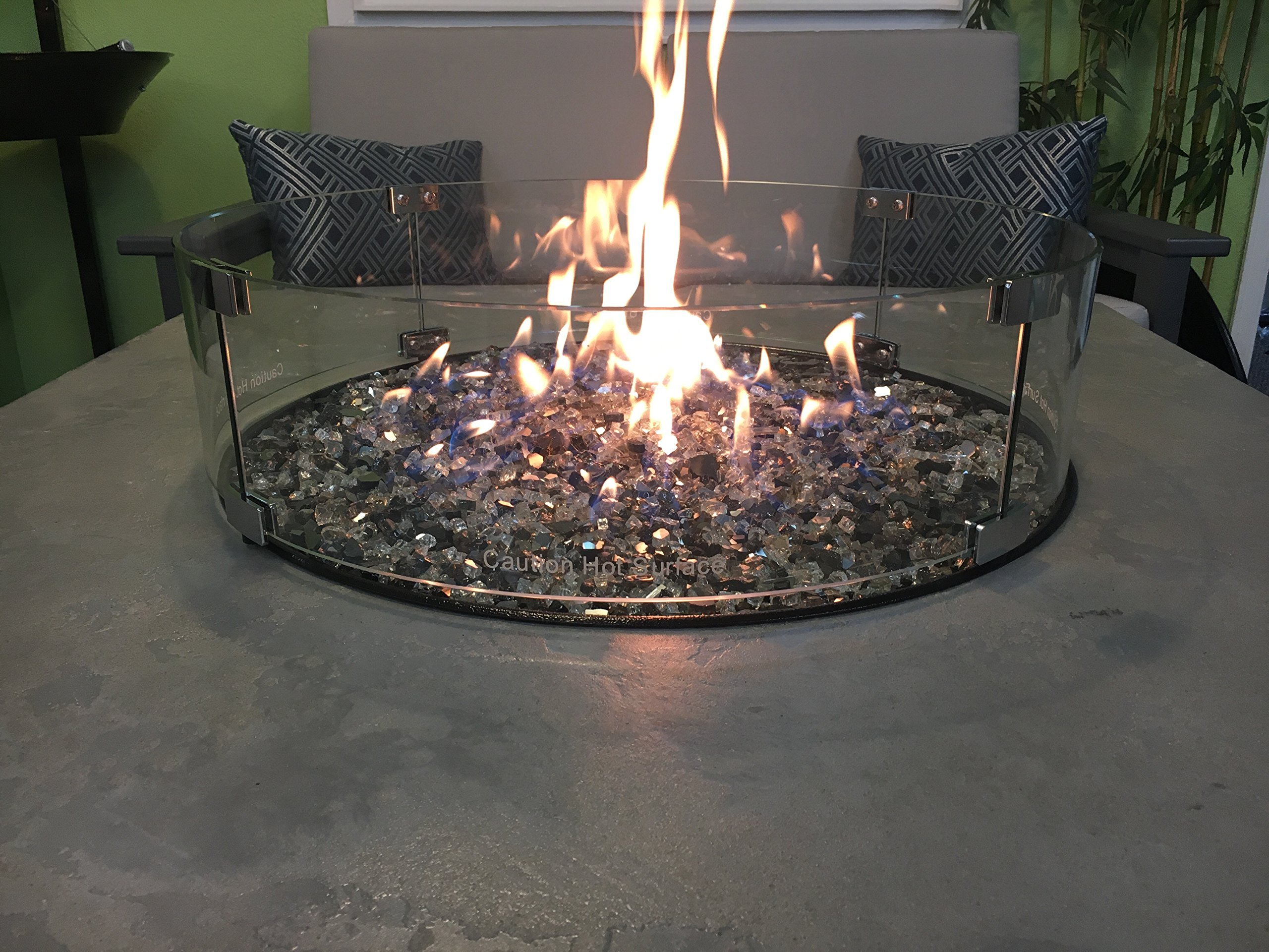 Oriflamme Fire Pit Fire Table Glass Wind and Fire Screen Guard 25'' Round by Oriflamme