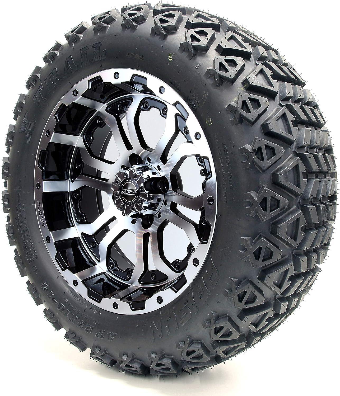 Amazon Com 14 Mjfx Omega Machined Black Golf Cart Wheels And All Terrain Tires Combo Set Of 4 Automotive