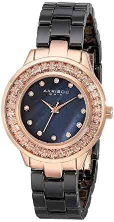 Akribos XXIV Womens AK781 Crystal Baguette Quartz Movement Watch with Mother of Pearl Dial and Ceramic
