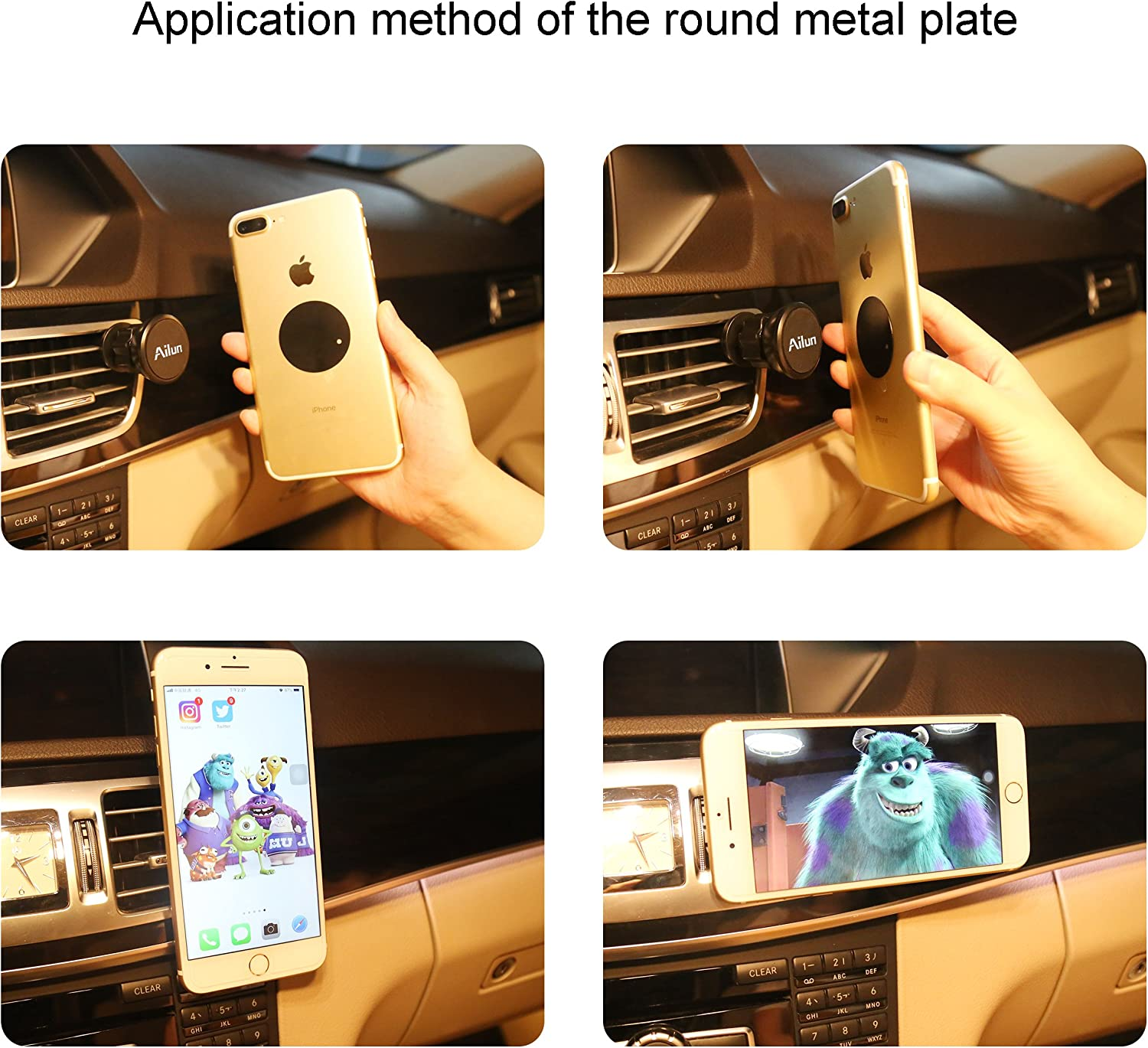 S20Ultra S10 S9 S8 Plus Note 10 and Other Tablets Black Ailun Car Phone Mount Round Magnet Mount Air Vent Magnetic Holder for iPhone 11//11 Pro//11 Pro Max//X Xs XR Xs Max Galaxy s20 s20