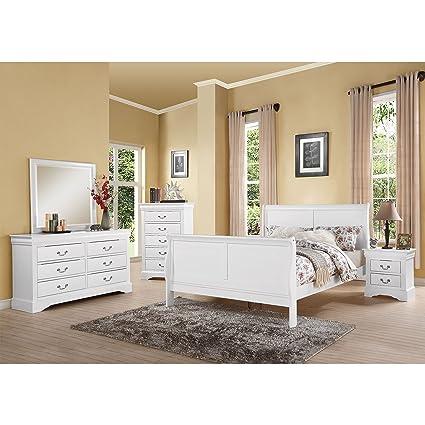 Acme Furniture Louis Philippe III White 4 Piece Bedroom Set Full