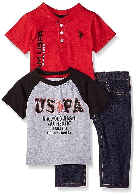 5b3ee59e9 U.S. Polo Assn. Baby Boys T-Shirt and Pant 3 Piece Set