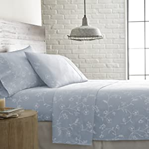 Southshore Fine Linens - BRITEYARN - Sweetbrier Print - 300 Thread Count 100% Cotton Extra Deep Pocket Sheet Set, Ballard Blue with White Flowers, King