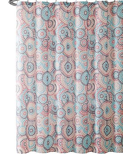 VCNY Home Bathroom Fabric Shower Curtain Mediterranean Mosaic Tile Circle Art Design