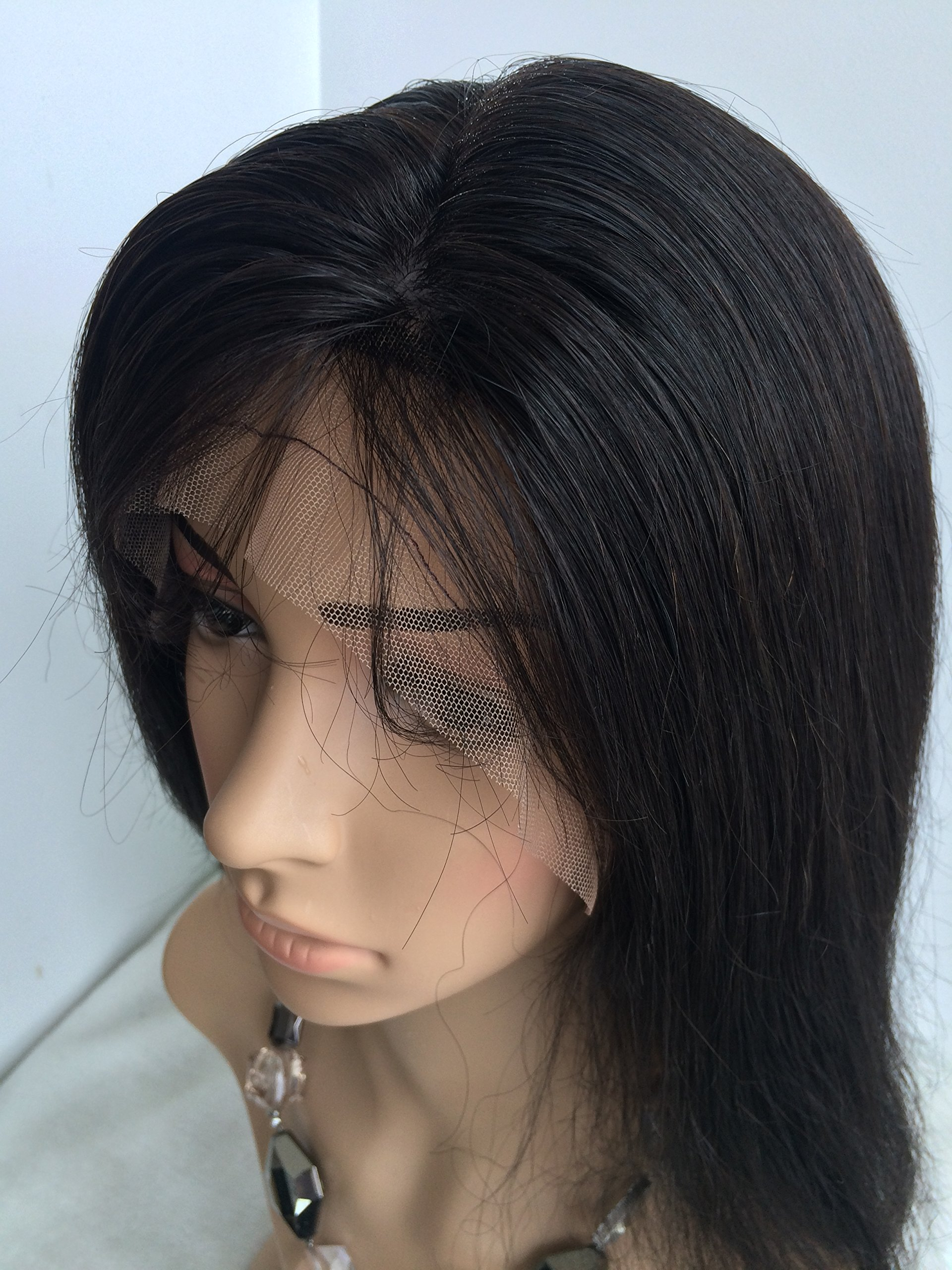 16 INCH,NATURAL COLOR,CHINESE VIRGIN SILK STRAIGHT FULL LACE SILK TOP WIG by April silk top wigs (Image #4)
