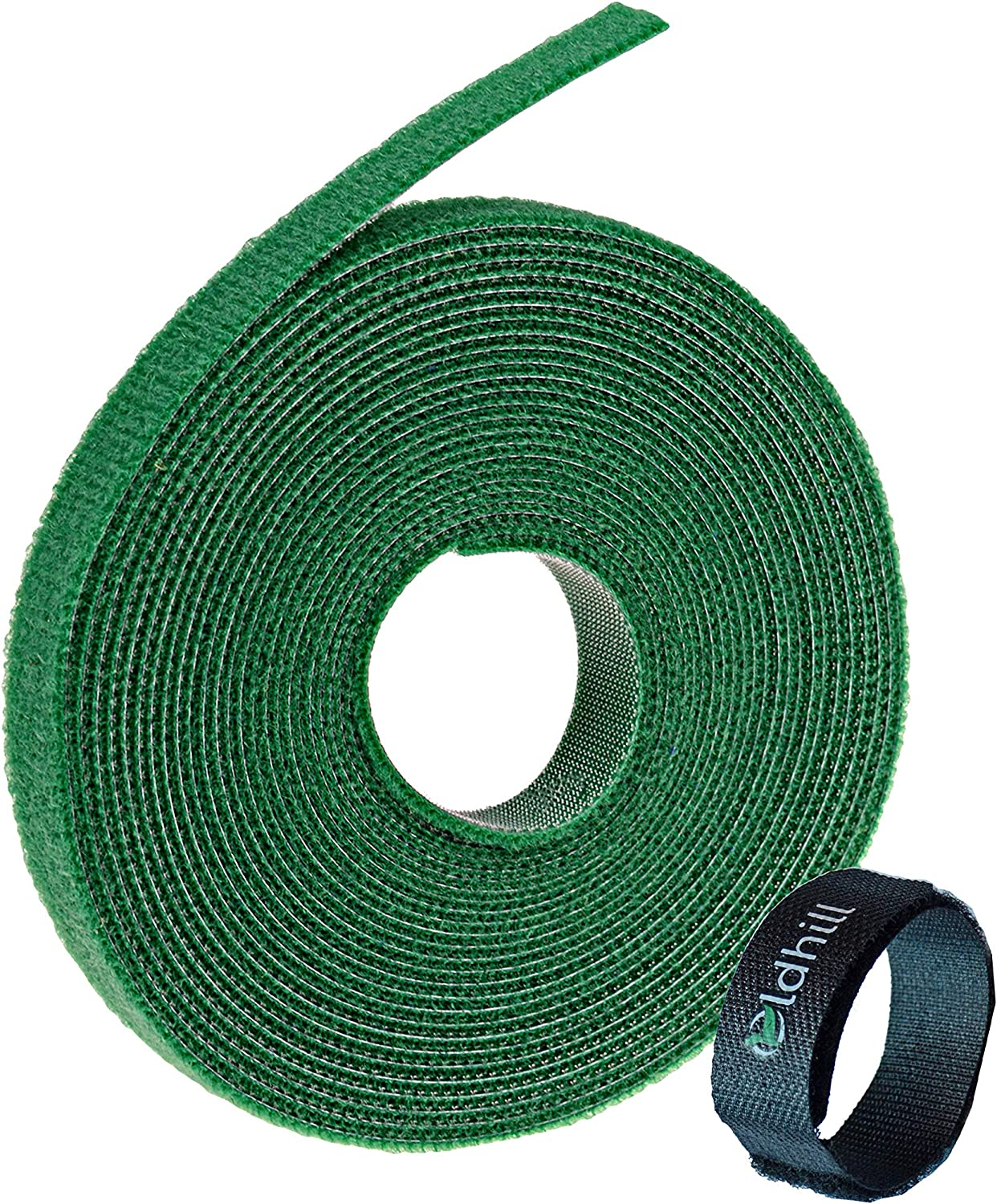 "Oldhill Fastening Tapes Hook and Loop Reusable Straps Wires Cords Cable Ties - 1/2"" Width, 15' x 3 Rolls (Green)"