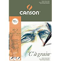 Canson C a Grain 180gsm Heavyweight Drawing Paper, fine Grain Texture, A3 pad Including 30 Sheets