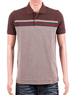 9052c068 Gucci Mens Polo Shirt Brown with Diamante Print and Front Stripe Signature